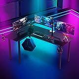 Dripex Gaming Tisch Gaming Schreibtisch Kohlefaseroberfläche Computertisch 155cm Groß Eckschreibtsich mit Getränke-, Gamepad- und Kopfhörerhalter