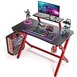 SIMBR Gaming Tische,110 cm, Computertisch Gaming-Tisch mit großem Monitorständer PC-Gaming-Workstation Home-Office-Schreibtisch mit Controller-Ständerhalter und Kopfhörerhaken