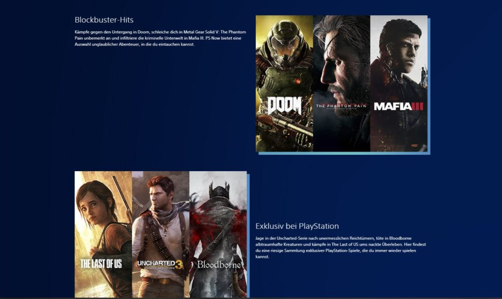 Playstation Now Spiele